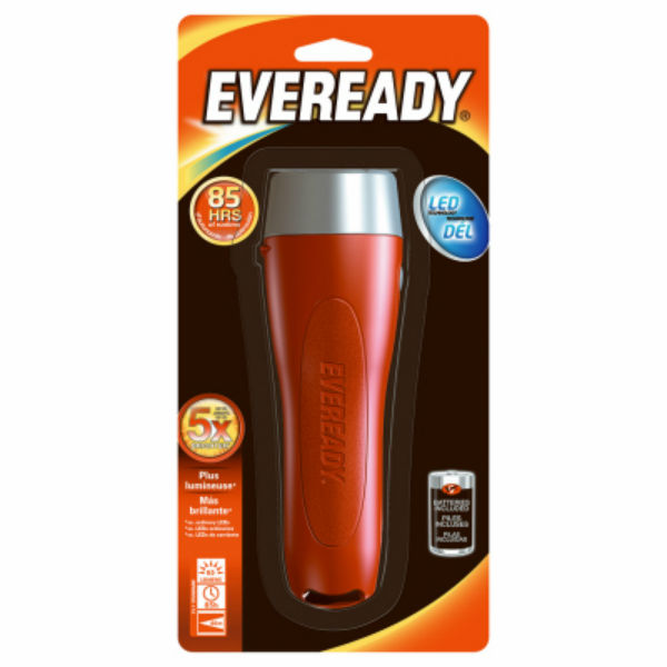 Eveready® EVGP25S Ergonomic Design LED 2D Flashlight with Push Bottom Switch