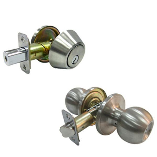 Tru-Guard B36L1B-KA3 Keyed Tubular Entry Lockset & Single Cylinder Deadbolt, Stainless Steel