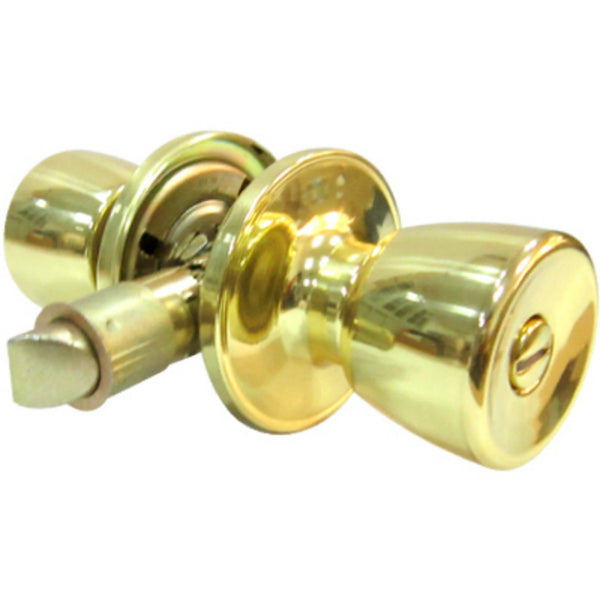 Tru-Guard TS710B-MH Tulip Style Knob Mobile Home Privacy Lockset, Polished Brass