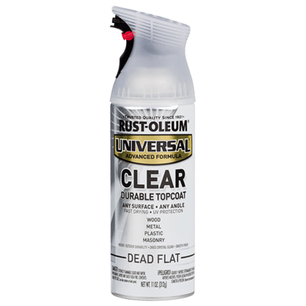 Rust-Oleum® 302151 Universal® Clear Topcoat Spray Paint, Dead Flat, 11 Oz