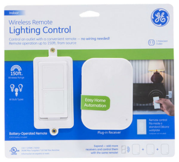 GE 36523 Indoor Wireless Timer w/ Wall Mount & Remote Light Control, Up To 150'