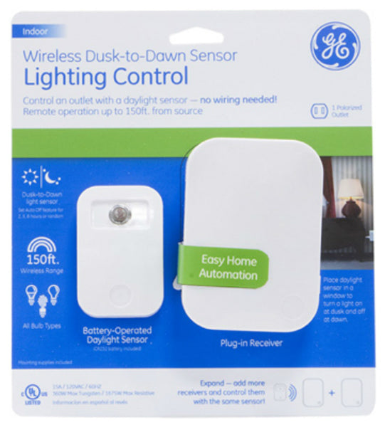 GE 36237 Wireless Dusk-To-Dawn Sensor Lighting Control with Plug-In Receiver