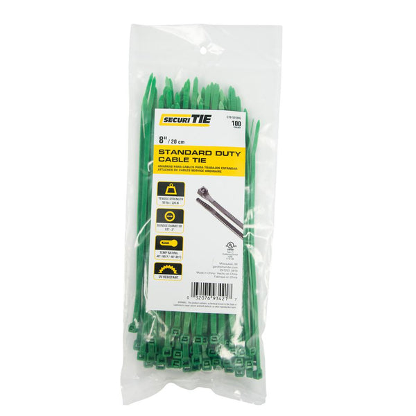 "Gardner Bender® CT8-50100G SecuriTie Standard Duty Cable Tie, Green, 8"", 100-Pk"