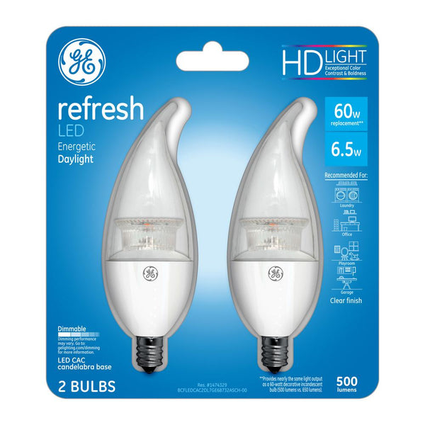Ge 68732 Refresh Hd Dimmable Clear Cac Candelabra Base Led