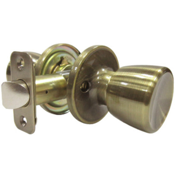 Tru-Guard TS830B Medium Tulip Style Knob Passage Lockset, Antique Brass