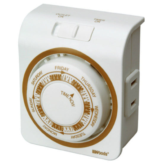 Woods® 50003 Indoor 7-Day Mechanical Vacation Timer, 2-Conductor