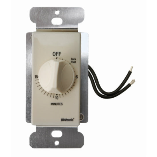 Woods® 59712 Indoor In Wall Spring Wound Timer, 15 Minute, Light Almond