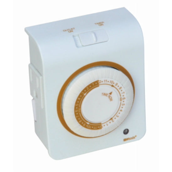 Woods® 50021 Programmable 24 Hour Mechanical Timer, White