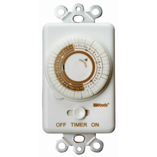 Woods® 59745 Indoor In-Wall 24-Hour Mechanical Timer, White