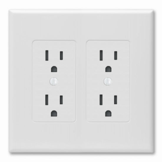 Taymac® 2602W Decorator Wall Plate Cover, White, 2 Gang