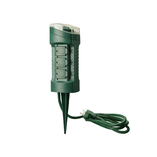 Woods 13547 Outdoor Power Stake Timer with Light Sensor & 6' Cord, 6-Outlet