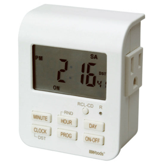 Woods® 50009 Indoor 7-Day Heavy Duty Digital Timer, 2-Outlets