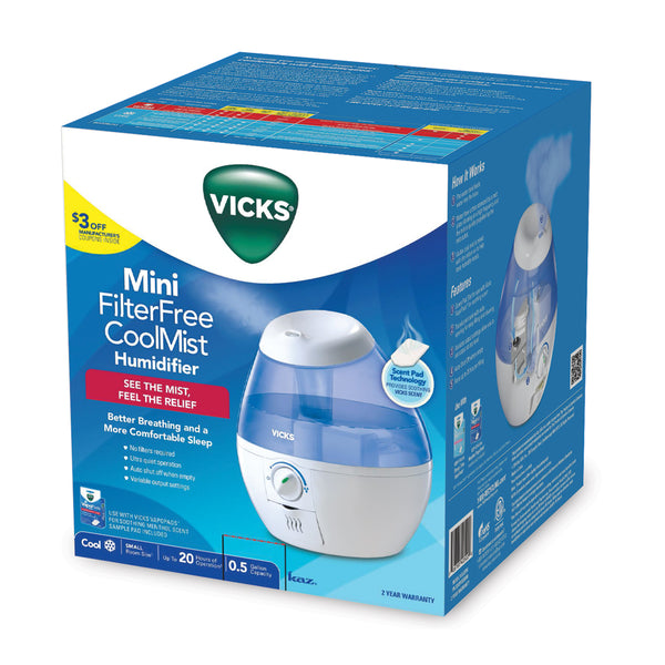 Vicks® VUL520W Mini Filter Free Cool Mist Humidifier, Blue, 1/2-Gallon