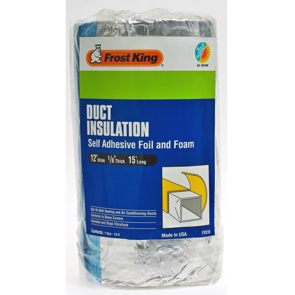 "Frost King® FV516 Duct Insulation Self Adhesive Foil & Foam, 15' Long, 12"" Wide"
