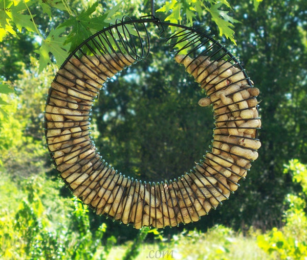 Songbird Essentials™ SE6019 Wreath Ring Whole Peanut Bird Feeder, Black