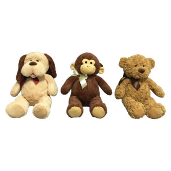 Hugfun 238039-042 Plush Animal Chocolate Brown Bear/Dogs w/ Ribbon, Assorted, 21""
