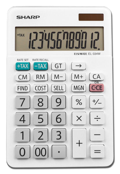 Sharp® EL-334WB Professional Desktop Calculator with XL 12-Digit LCD Display