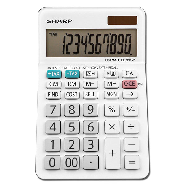 Sharp® EL-330WB Professional Desktop Calculator with 10-Digit LCD Display, Large