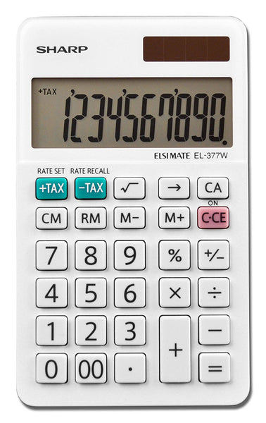 Sharp® EL-377WB Professional Pocket Calculator with 10-Digit LCD Display, Large