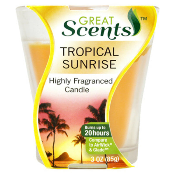 Great Scents™ 92911-1 Highly Fragranced Candle, Tropical Sunrise, 3 Oz