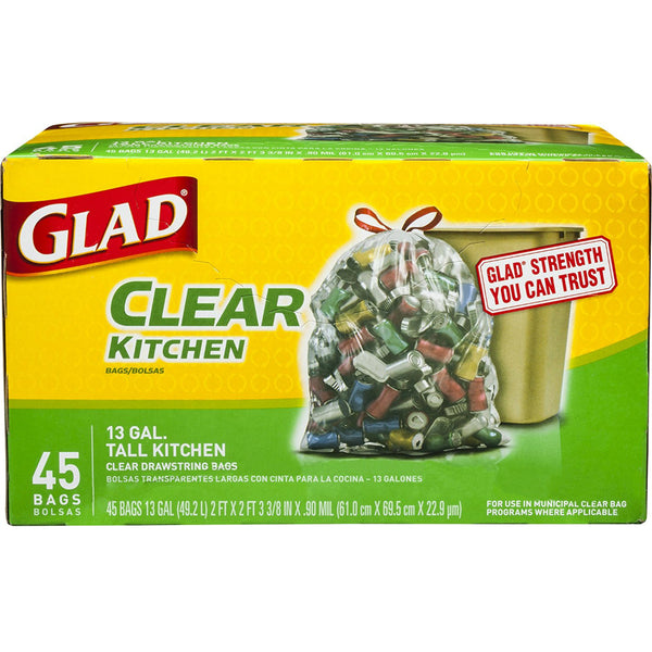 Glad® 78543 Recycling Tall Kitchen Drawstring Clear Bags, 13 Gallon, 45 Count