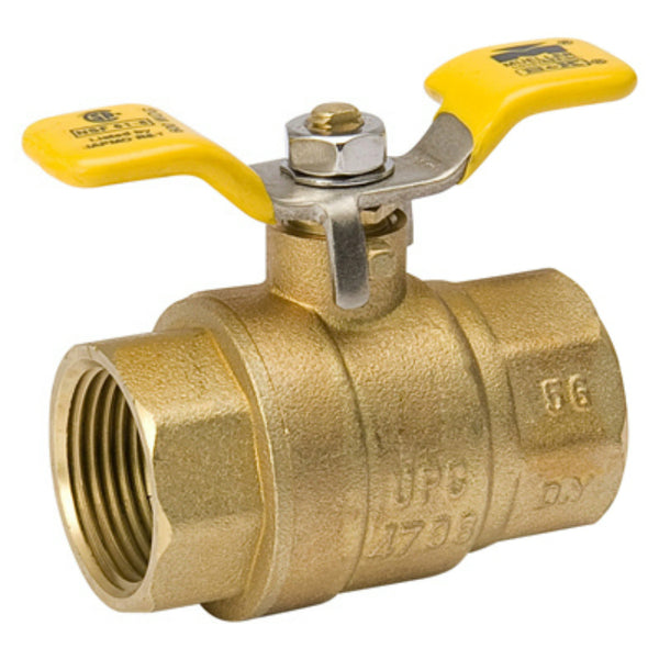 "B & K™ 107-825TNL Forged Brass Full Port Ball Valve with T-Handle, 1"" IPS"