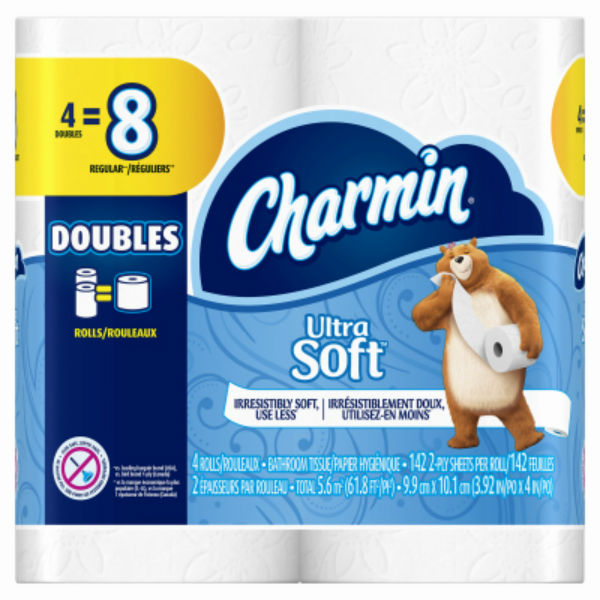 Charmin® 13258 Ultra Soft 2-Ply Toilet Paper, 4-Double Roll, 142-Sheets