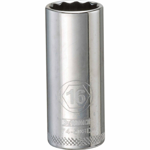 "DeWalt® DWMT74508OSP Polished Chrome Vanadium Deep Metric Sockets, 3/8"", 16 mm"