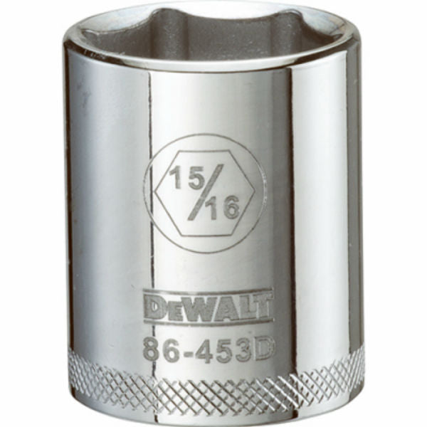"DeWalt® DWMT86453OSP Polished Chrome Vanadium Hand Sockets, 1/2"" Drive, 15/16"""