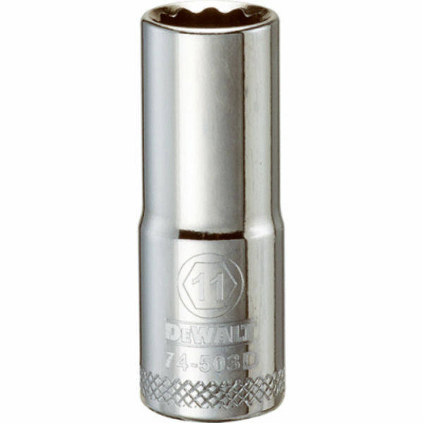 "DeWalt® DWMT74503OSP Polished Chrome Vanadium Deep Metric Sockets, 3/8"", 11 mm"