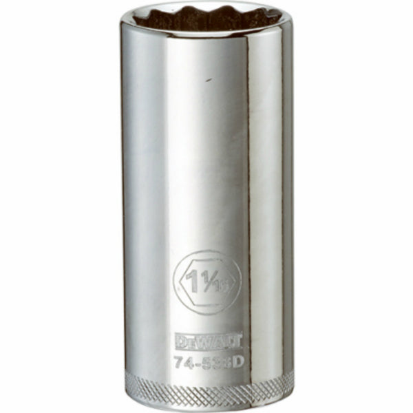 "DeWalt® DWMT74538OSP Polished Chrome Vanadium Deep Sockets, 1/2"" Drive, 1-1/16"""
