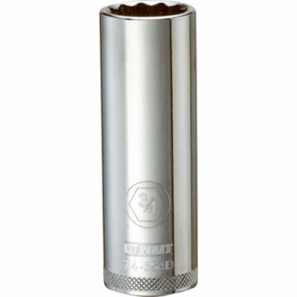 "DeWalt® DWMT74554OSP Polished Chrome Vanadium Deep Sockets, 1/2"" Drive, 3/4"""