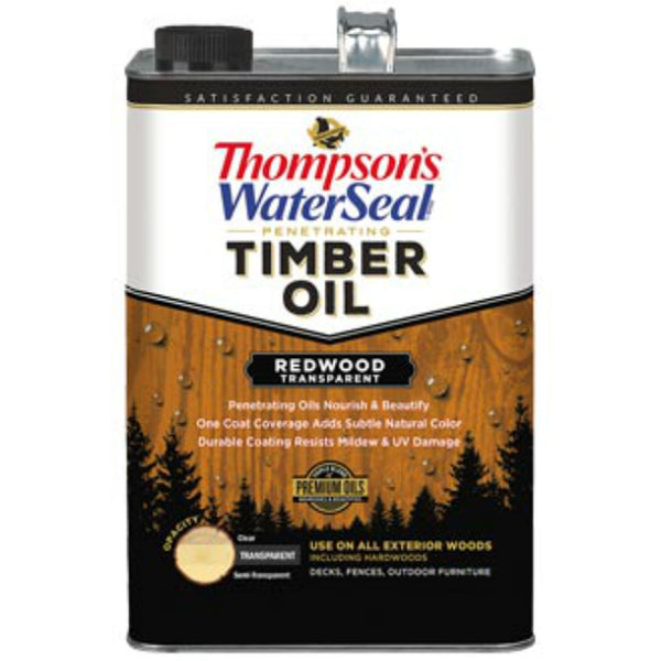 Thompson's WaterSeal 049821-16 Penetrating Transparent Timber Oil, Redwood,1-Gal