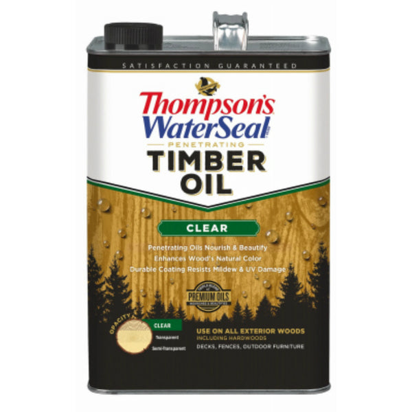 Thompson's WaterSeal 047801-16 Penetrating Timber Oil, Clear, 1-Gallon
