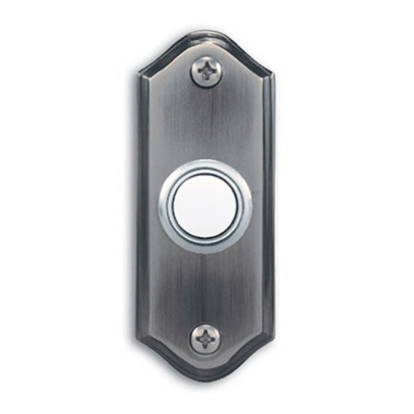 Heath Zenith® SL-923-02 Wired Push Button with Pewter Finish, Lighted, Metal