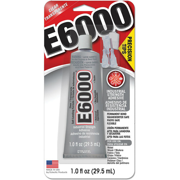 E6000® 231020 Industrial Strength Precision Tip Adhesive, Clear, 1 Oz