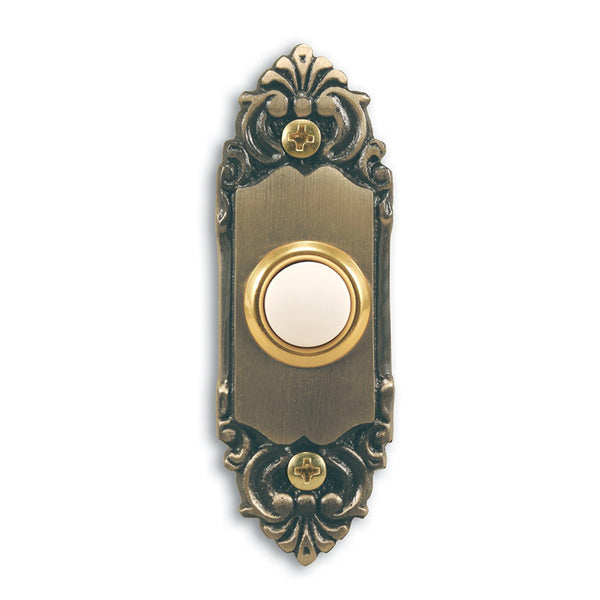 Heath Zenith® SL-925-02 Wired Push Button w/Antique Brass Finish, Lighted, Metal