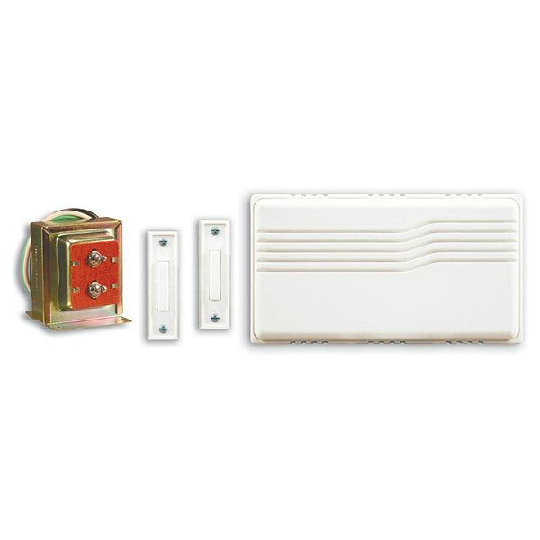 Heath Zenith® SL-27102-02 Wired Doorbell Kit with Mixed Push Buttons, White Cover