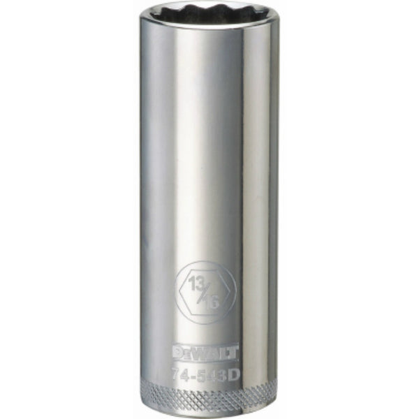 "DeWalt® DWMT74543OSP Polished Chrome Vanadium Deep Sockets, 12 Pt, 1/2"", 13/16"""