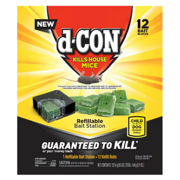 d-CON® 1920098666 Refillable Mice Bait Station with 12 Refill Baits