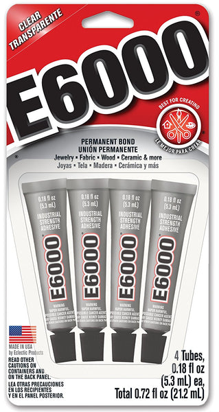 E6000® 5510310 Industrial Strength Craft Adhesive Mini Tubes, Clear, 4-Pack