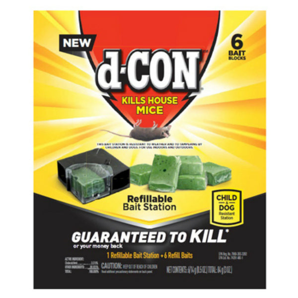 d-CON® 1920098665 Refillable Mice Bait Station with 6 Refill Baits