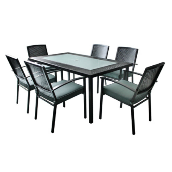 Four Seasons Courtyard RXTV-1805-SET Newport Steel Dining Set, 7-Piece
