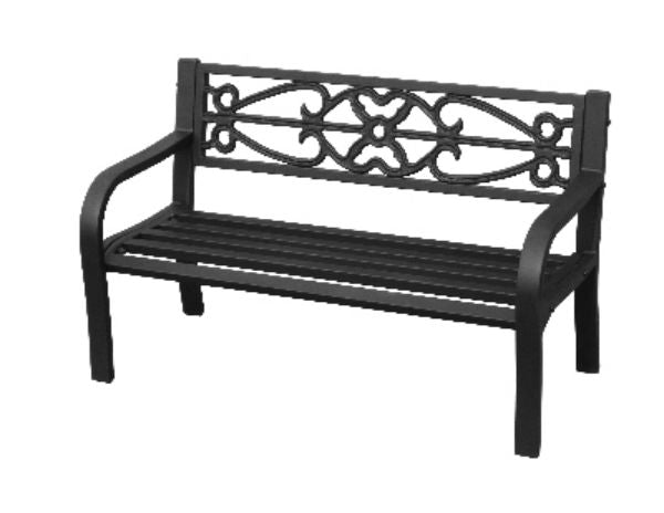 Four Seasons Courtyard IP-D8812K Kids Bench with Steel Frame, Black, 300 lbs