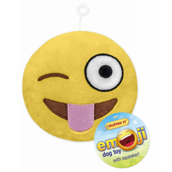Ruffin' It 16307 Emoji Plush Dog Toy with Squeaker, Assorted Styles