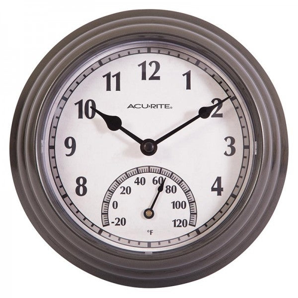 AcuRite® 02413A1 Outdoor Clock with Thermometer, Gunmetal Gray, 8.5""