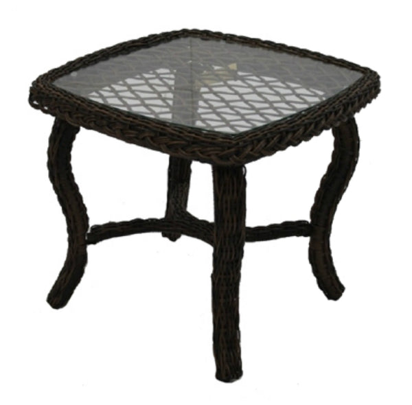 Four Seasons Courtyard BPH02610H60 Bermuda End Table w/ Steel Frames & Glass Top