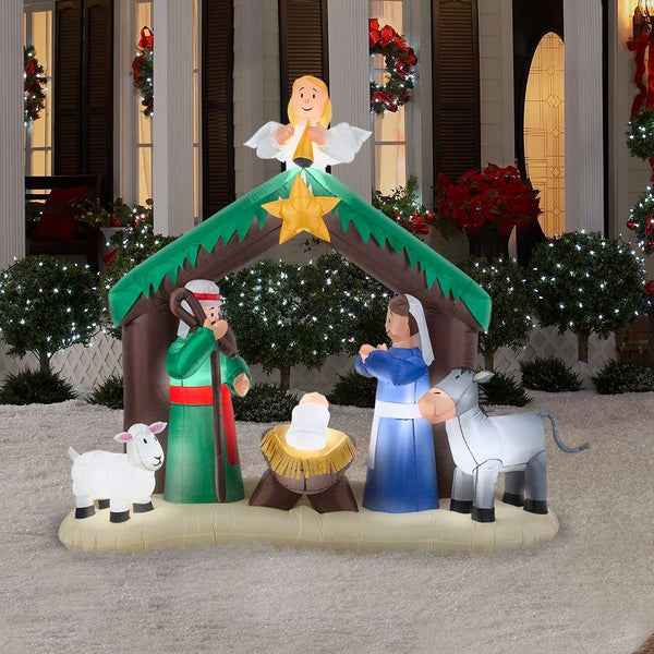 Gemmy 36707 Airblown Inflatable Lights-Up Christmas Holy Family Nativity Scene, 79""