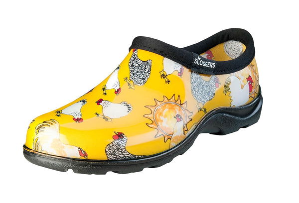 Sloggers® 5116CDY10 Women's Chicken Print Garden Shoe, Daffodil Yellow, Size 10