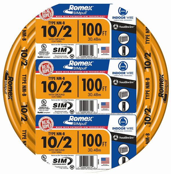 Southwire 28829028 Romex Non-Metallic Sheathed Cable w/Ground, 10/2, Copper,100'